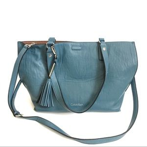 [CALVIN KLEIN] REVERSIBLE BLUE BROWN LEATHER TOTE